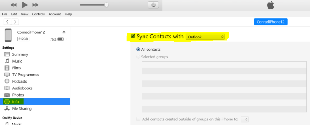 Sync outlook Contacts via iTunes