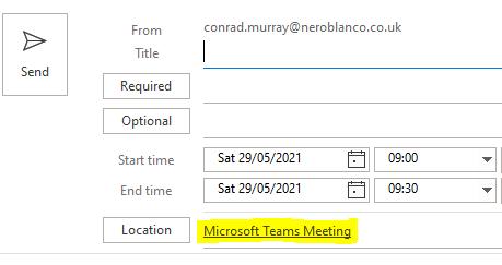 Default to Teams Meeting