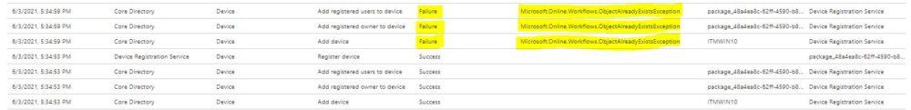 Microsoft.Online.Workflows.ObjectAlreadyExistsException